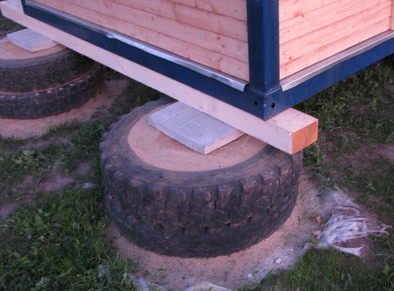 Как сделать фундамент для бани из покрышек своими руками 95