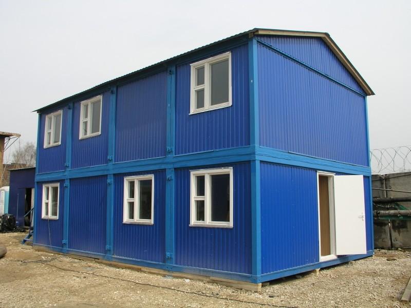 Модульные здания синие с открытой дверью